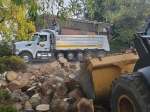Firewood Rescue Service Project from Geneva Rock and Sunroc Trucks